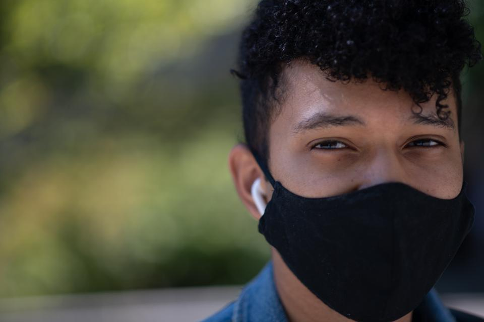 Cornell student with mask
