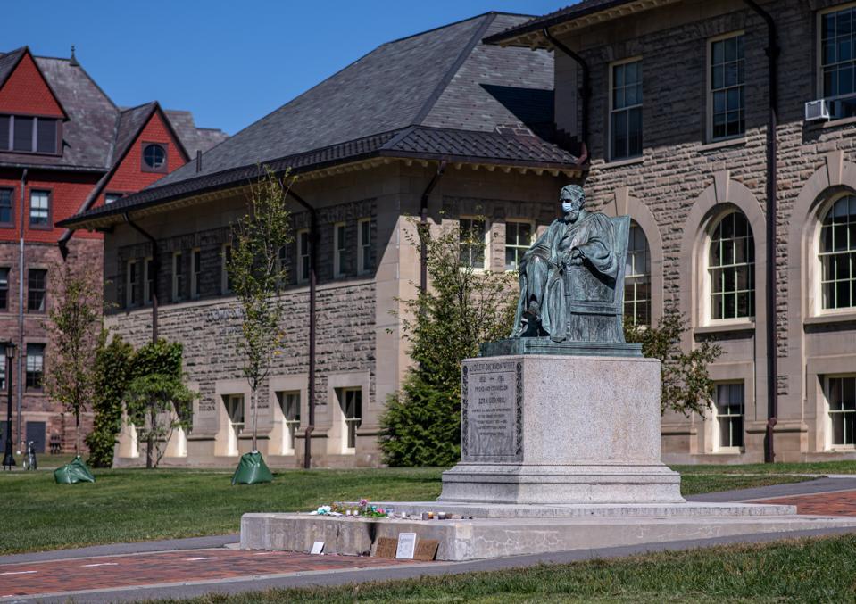 Statue of Andrew Dickson White, masked. Cornell University