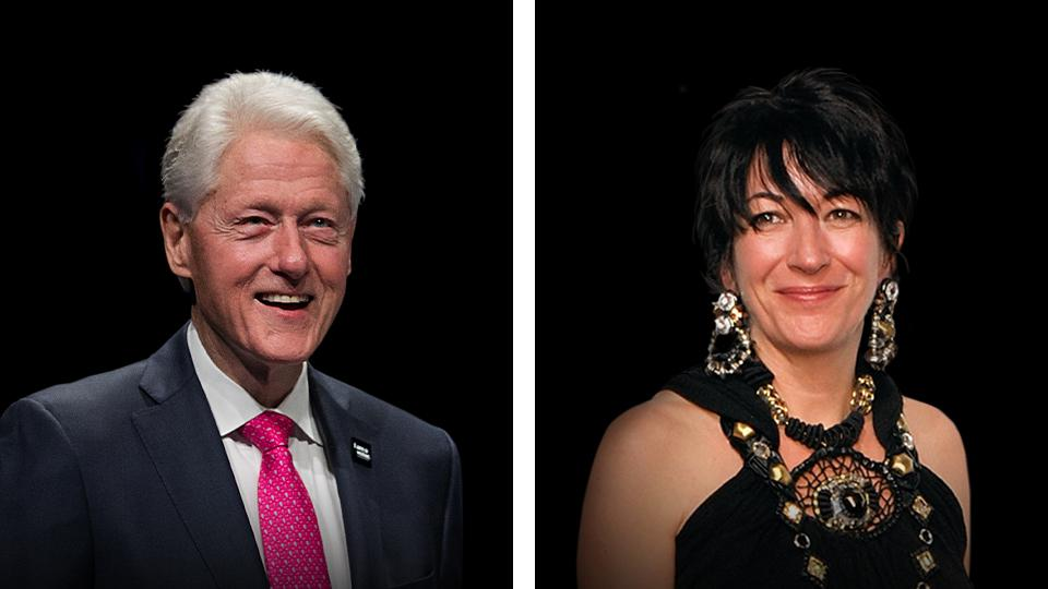 Former President Bill Clinton, left, and Ghislaine Maxwell.
