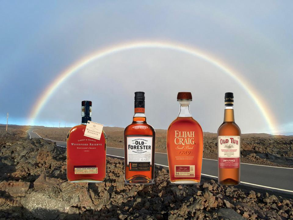 Woodford reserve, Old forester, elijah craig, old tub bourbons under a rainbow in Hawaii