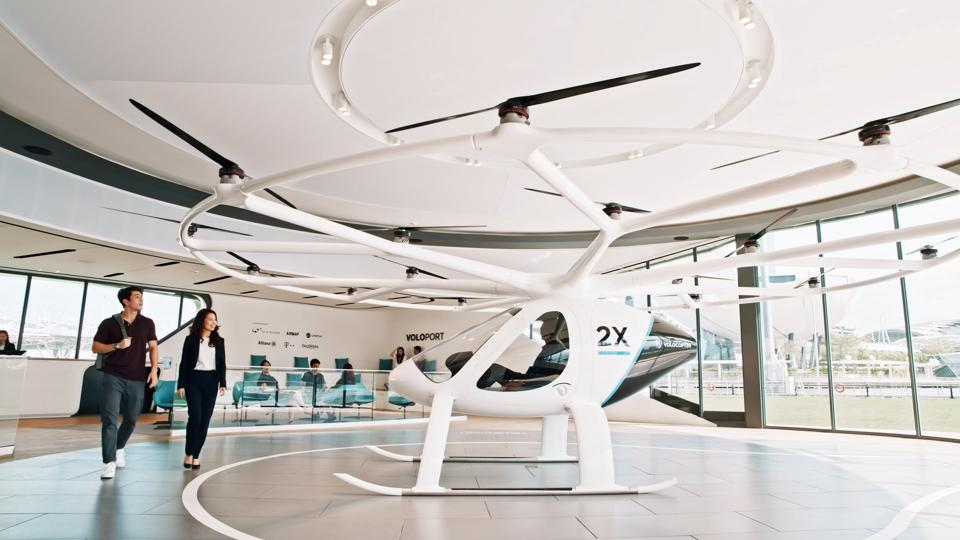 The VoloCity air taxi on display at Volocopter's headquarters.