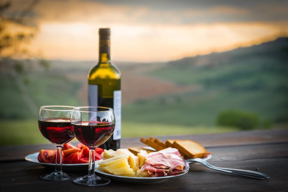 Italian wine, cheese and prosciutto