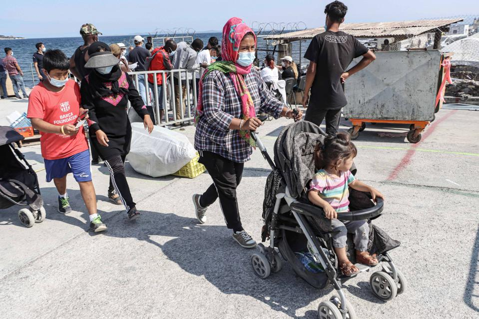 Refugees Wait to Register at New Temporary Camp on Island of Lesbos in Greece