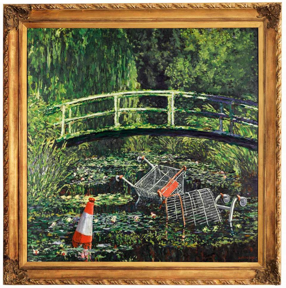 Banksy's Show me the Monet is the British contemporary artist's tribute to Claude Monet's legendary painting of a Japanese bridge in a garden at Giverny. First exhibited in 2005, it playfully features fly-tripped rubbish in the famous lily pond, in what has been interpreted as a critique of environmental destruction and throwaway consumerism.