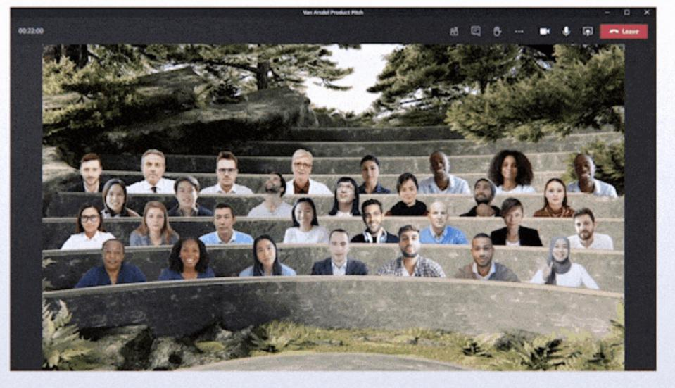 Microsoft Teams lets you swap your home office for an outdoor auditorium.