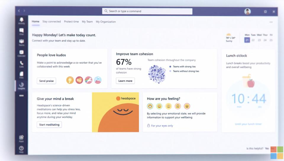 Mindfulness coming to Microsoft Teams.