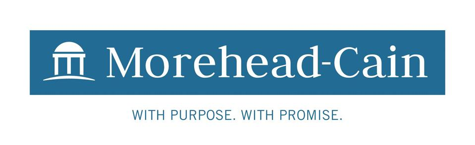 Logo of the ″Morehead-Cain″ Scholarship with image on right and words ″With Purpose. With Promise″ on bottom.