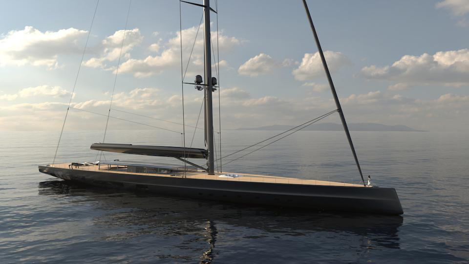 The woman at the bow of yhe 280-foot-long, 351-foot tall Apex 850 suoeryacht concept from Royal Huisman gives an idea of just how big it is!