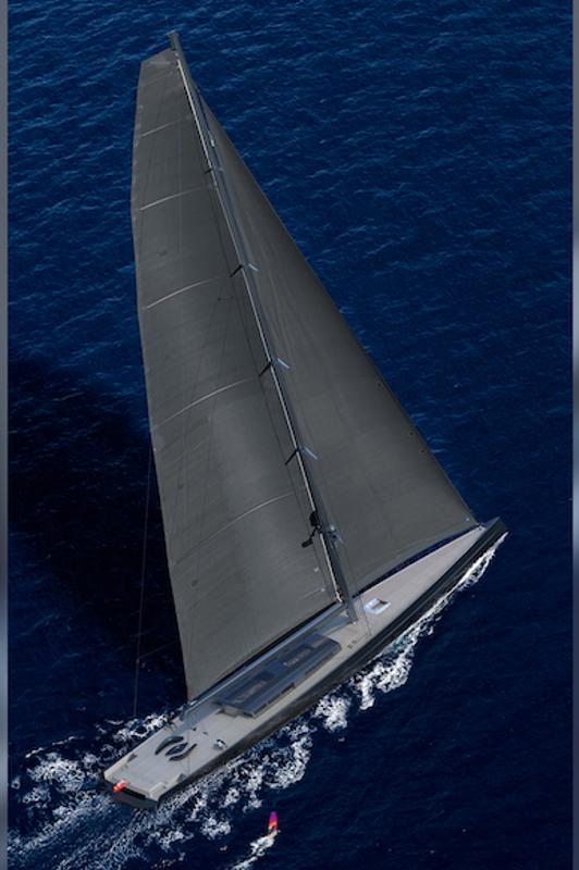 This is what a yacht with a 351-foot-tall mast looks like when it's sailing upwind!