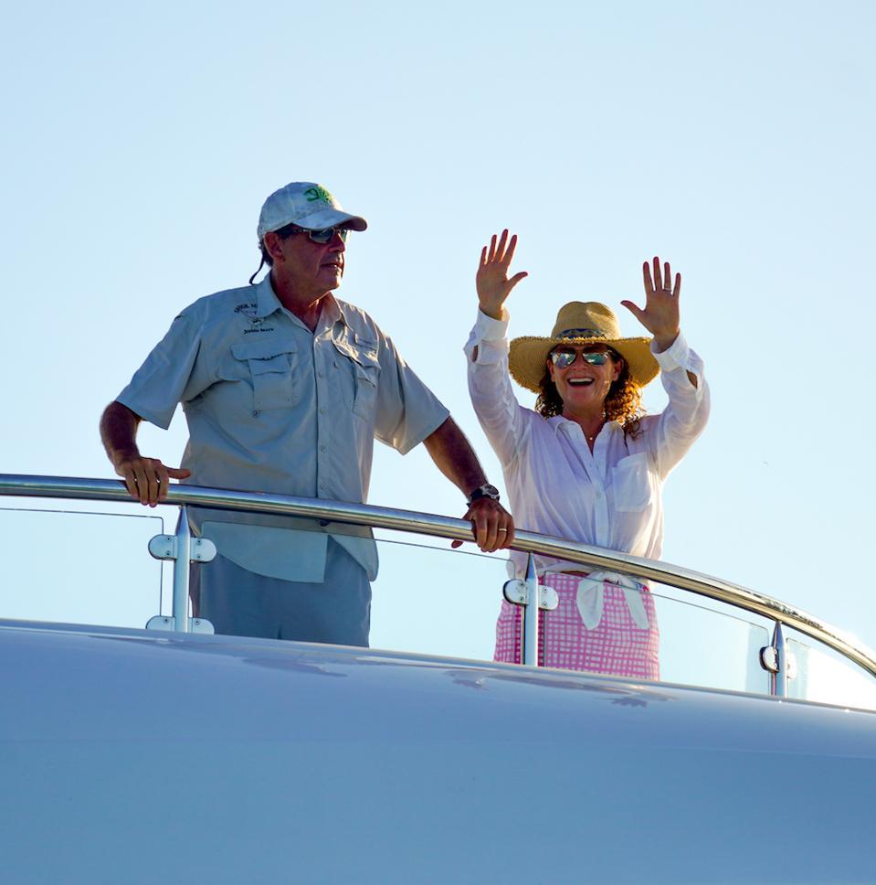 Carl and Gigi Allen on board their yacht Gigi in the Bahamas.
