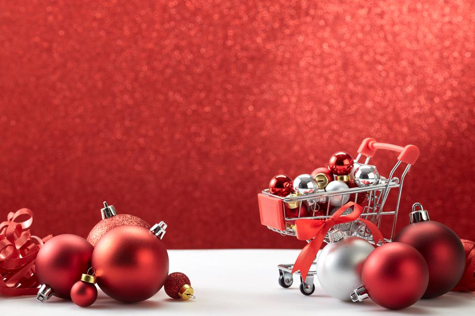Christmas sales decoration red bokeh background