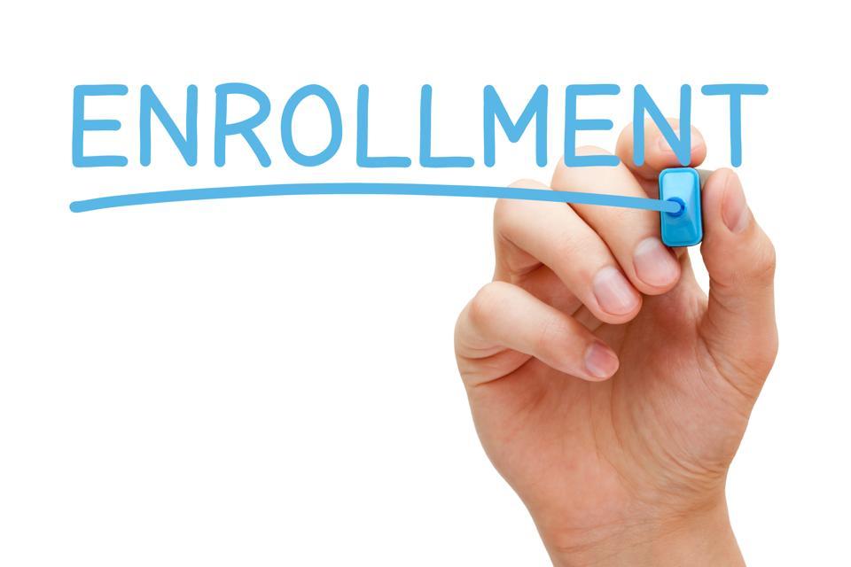 Enrollment Handwritten With Blue Marker