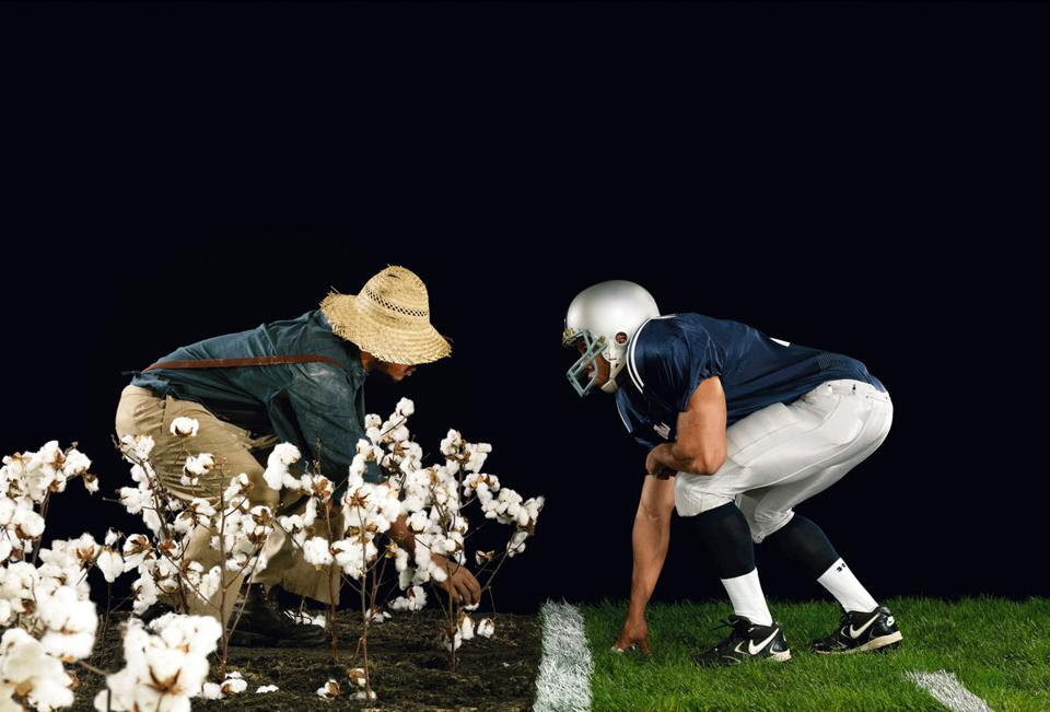 Hank Willis Thomas (American, born 1976), 'The Cotton Bowl,' from the series, 'Strange Fruit,' 2011. Chromogenic print, 50 15/16 × 74 7/16 × 1 1/2 inches. Detroit Institute of Arts, Museum Purchase, W. Hawkins Ferry Fund.