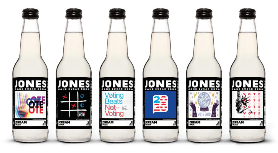 Jones soda's limited-edition line of 'Get out the vote' sodas