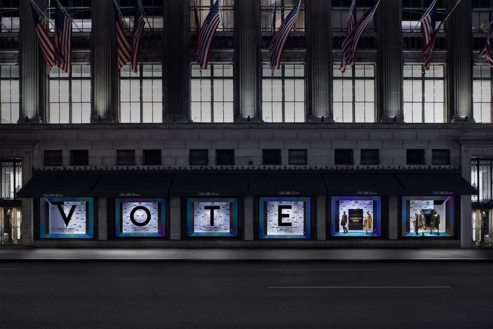 Saks' 'VOTE' window on fifth avenue in New York City