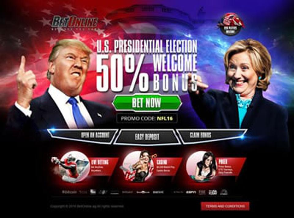Trump and Hillary Clinton in promotional image for online political gaming at BetOnline.