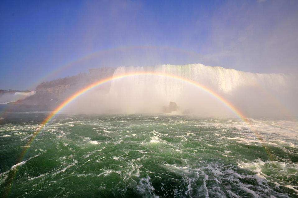 A primary rainbow, created when a light source shines on water droplets.