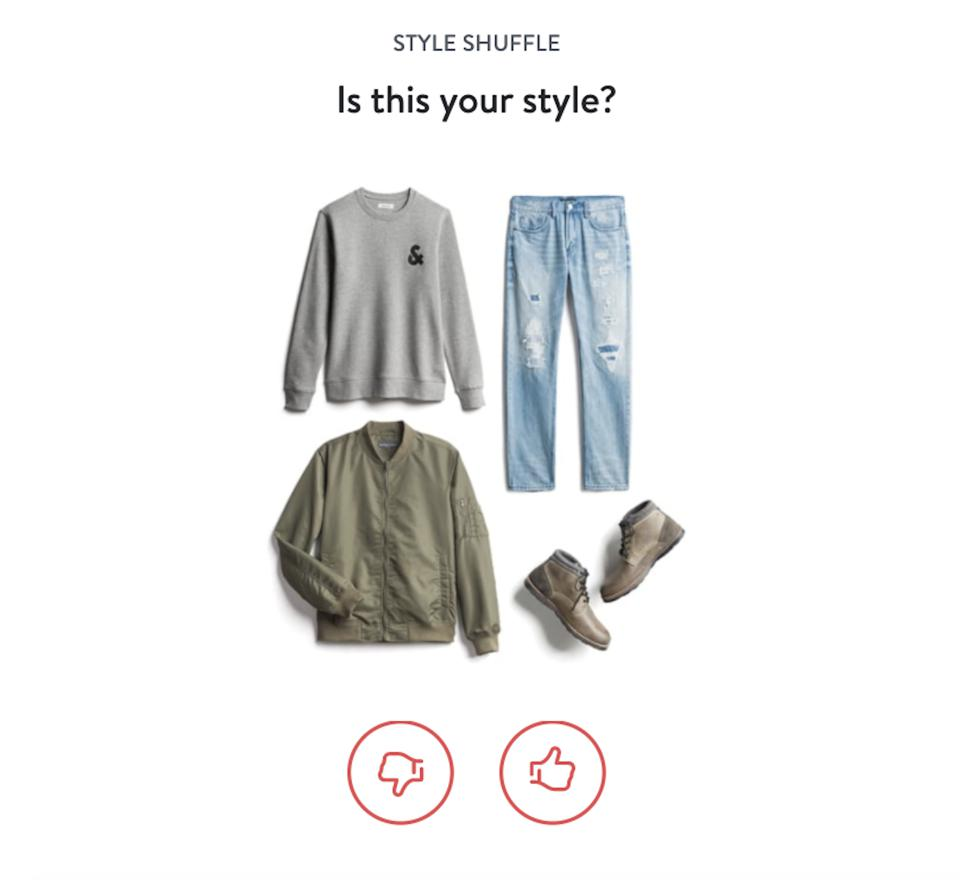 A screen from the Stitch Fix app where clients can thumb up or down fashions.