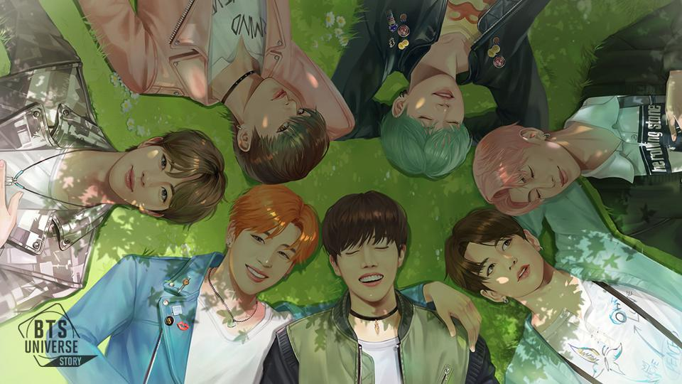 Character representation of BTS laying on a grass in a circle