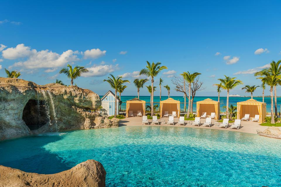 A beautiful hotel and beach in the Bahamas