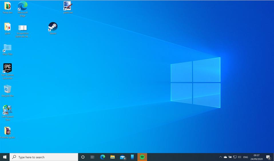Windows 10 version 20H2 desktop