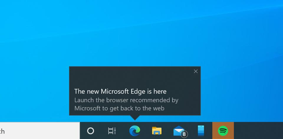 Windows 10 pop-up promoting the Edge browser