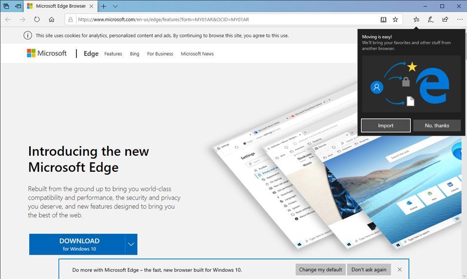 Edge browser pop-up window