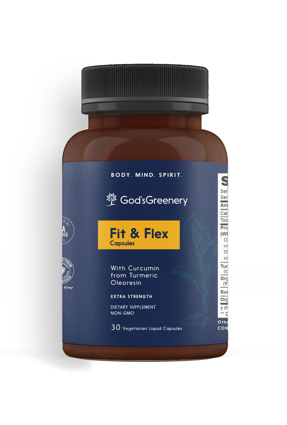 A bottle of Fit & Flex capsules by God's Greenery is pictured on a white background.