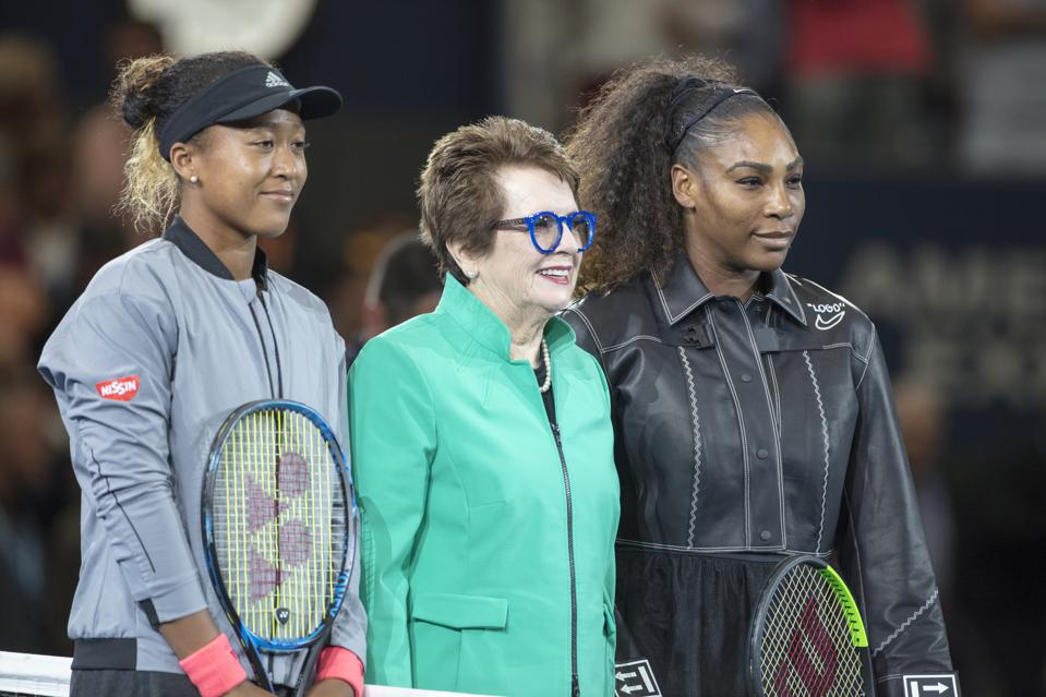 Osaka with Billie Jean King and Serena Williams at the 2018 US Open