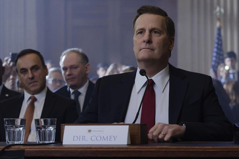 Jeff Daniels as former FBI Director James Comey in 'The Comey Rule' on Showtime. Brendan Gleeson portrays President Donald J. Trump. The film covers the Russian infiltration of the 2016 and 2020 Presidential Elections and other scandals and lies.