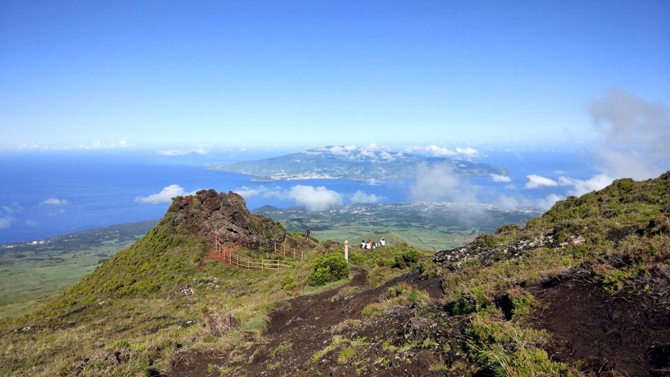 While climbing Pico mountain in the Azores, hikers get panoramic views of the Atlantic.