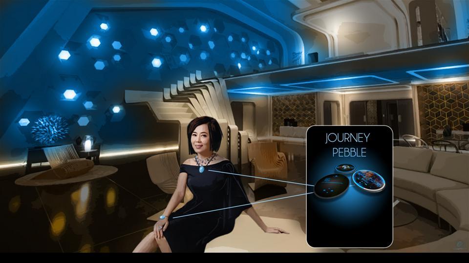 A hotel guest in a futuristic lobby