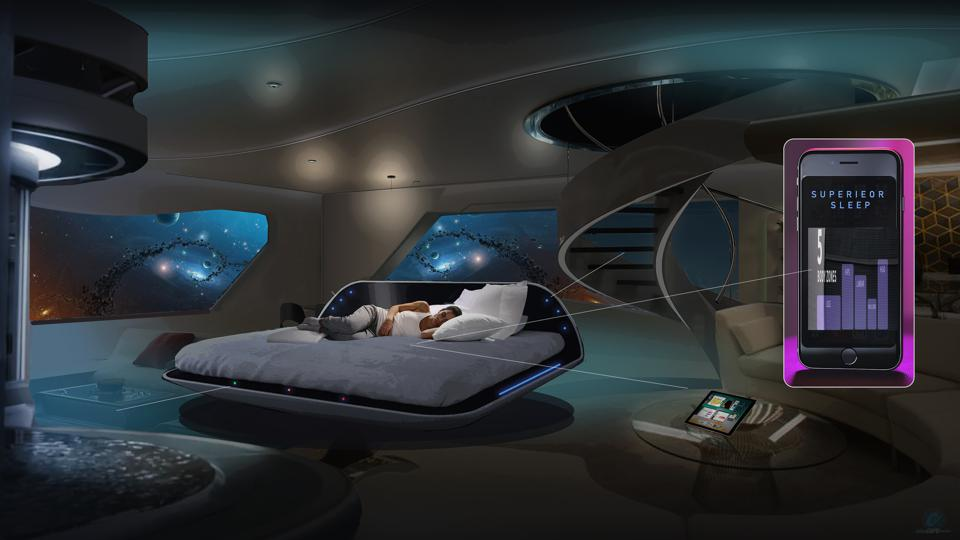 a bed on a platform in a futuristic looking room