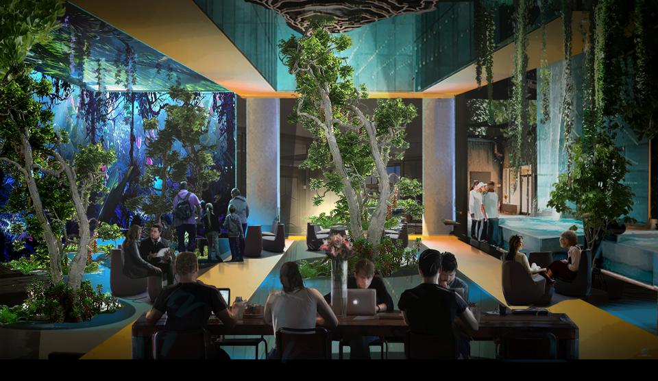 A hotel lobby with waterfalls and plants
