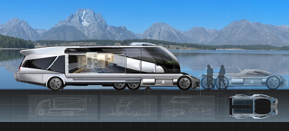 A sleek futuristic van