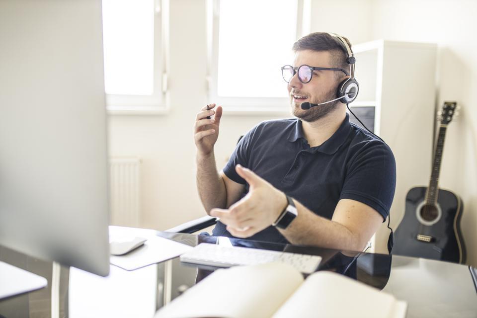 Salesman having video call