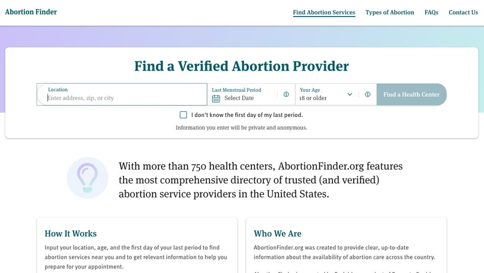 The Abortion Finder home page features a search bar that requests the user's location, last menstrual period, and age.
