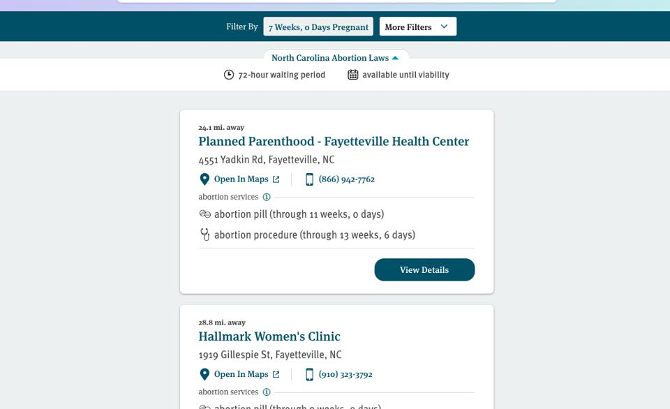 An image of the Abortion Finder results page for someone in North Carolina who is seven weeks pregnant.
