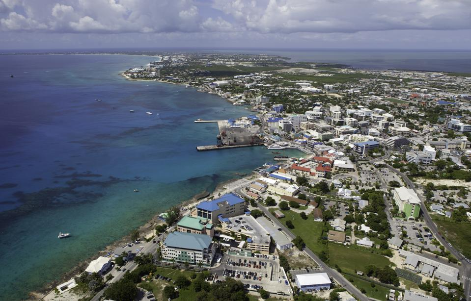 Aerial view financial district Grand Cayman, Cayman Islands