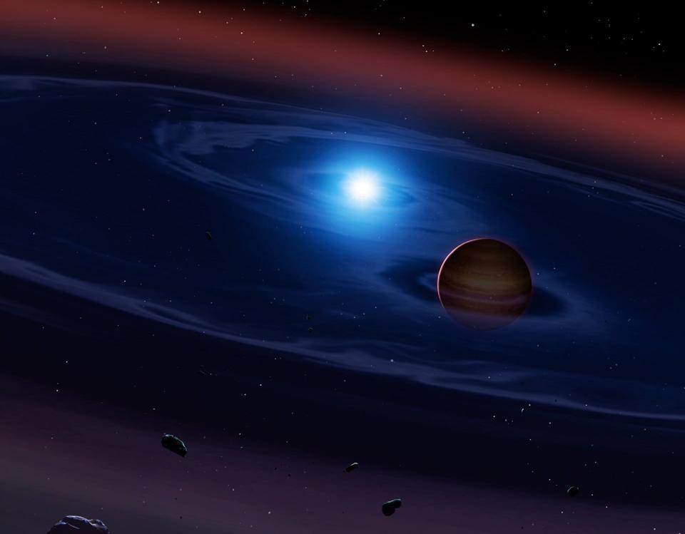 Illustration of a giant planet in orbit around a white dwarf star.