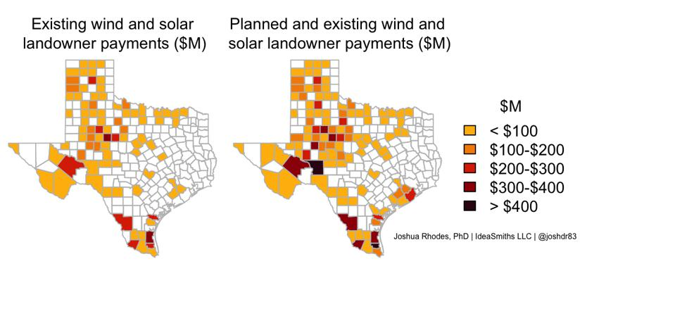 Figure showing the estimated landowner payments that renewables will make in Texas.
