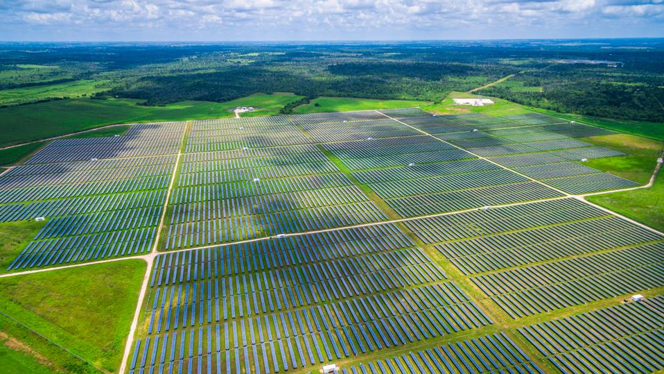 Aerial Central Texas Solar Energy Farm Thousands of Collectors