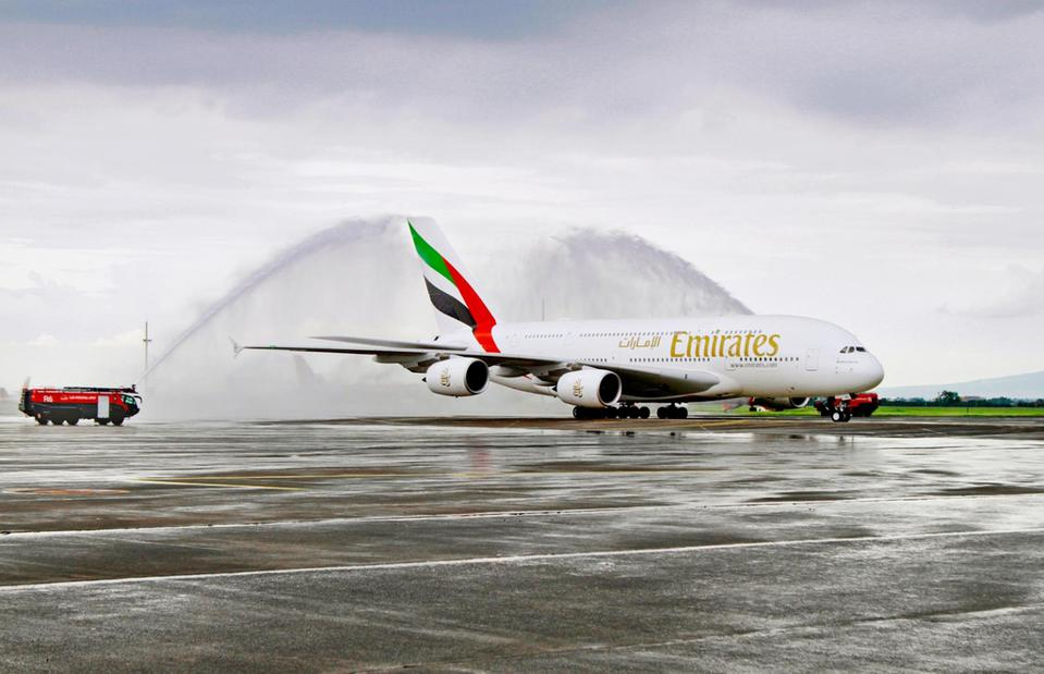 Emirates flew one of its A380s for one-off service to Clark International Airport.