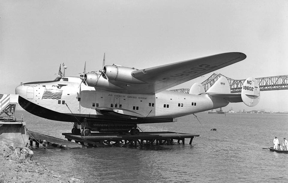 On april 25, 1939 : christening of plane California Clipper (Boeing 314, seaplane) of Pan American Airways (Pan Am) in Treasure Island, photo by Art Green