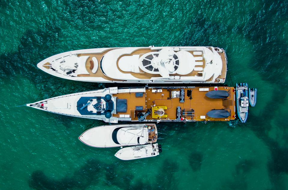 Carl Allen's fleet of yachts make its home at Walker's Cay in the Bahamas.