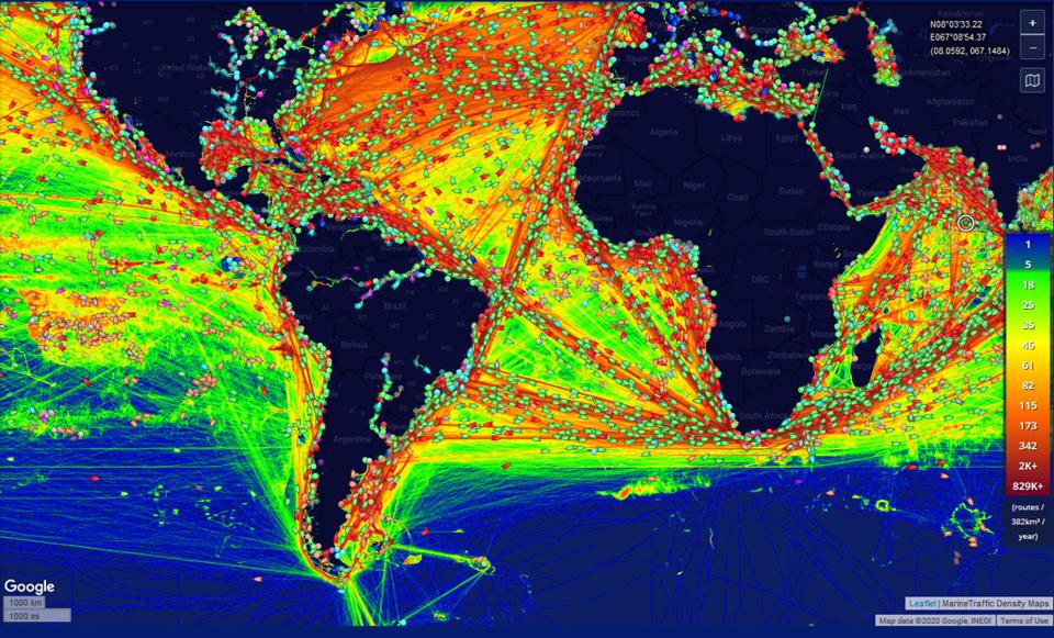 The most dense shipping lanes are shown in red