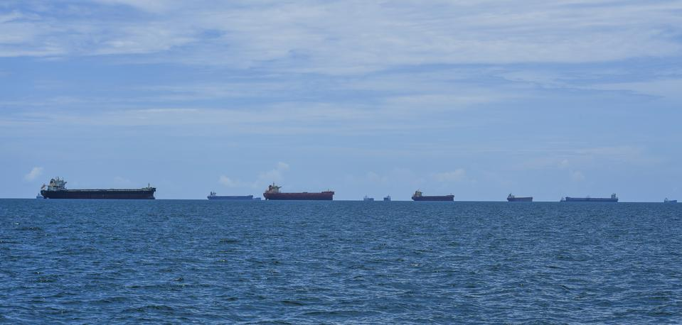 HAY POINT, QUEENSLAND - JANUARY 24: Coal carrying freighters in