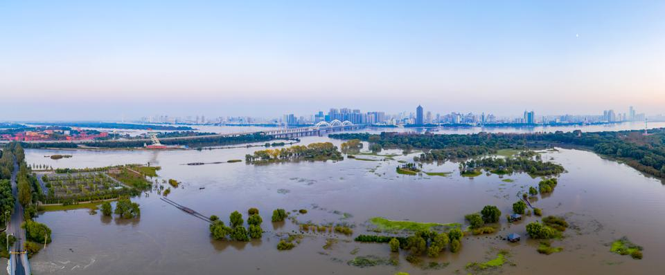 View of a vast flooded area around the Songhua river in China's Heilongjiang province.