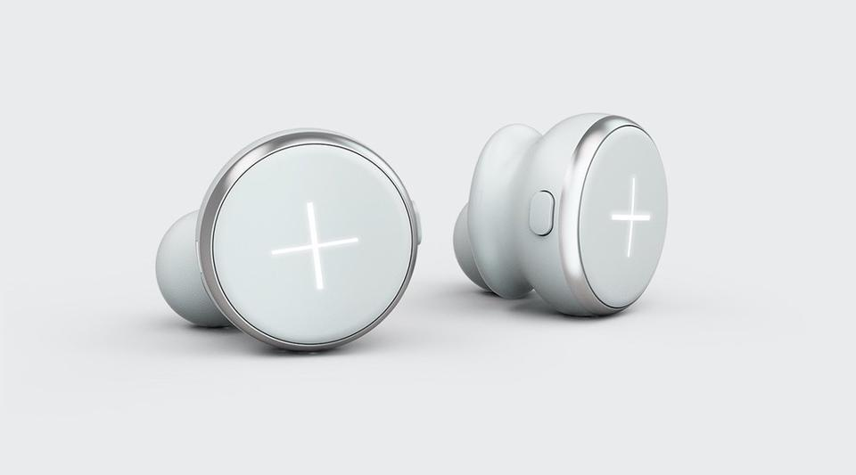 White pair of Xellence earbuds
