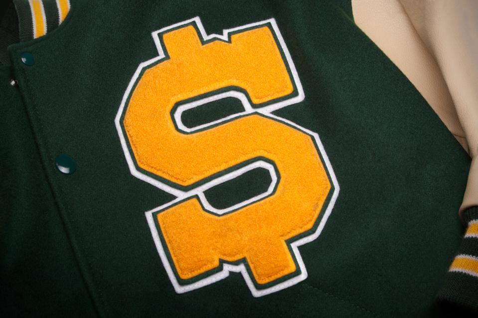 Letterman jacket with a dollar symbol